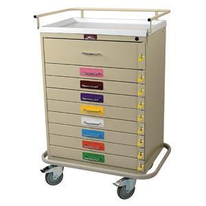 Harloff 6400PEC Classic Line Nine Drawer Pediatric Resuscitation Cart - Breakaway Locks, Standard Package