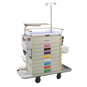 Harloff 6411PEC Classic Line 9 Drawer Pediatric Resuscitation Cart with Breakaway Lock, Super-Stat Specialty Package