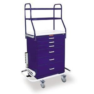 Harloff 6650 Tall 6 Drawer Anesthesia Cart W/Key Lock, Overhead Shelving, Specialty Package
