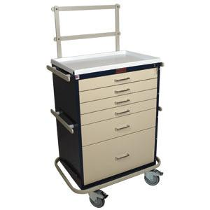Harloff 6451 Tall 6 Drawer Anesthesia Cart - Key Lock, Specialty Package