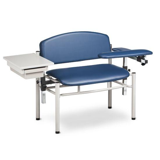 Clinton SC Series Extra-Wide Padded Blood Draw Chair with Padded Flip Arm and Drawer