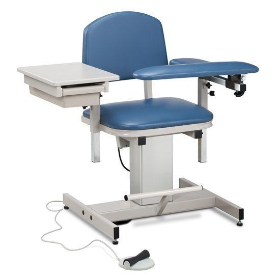 Clinton Power Series Blood Drawing Chair with Padded Flip Arm and Drawer