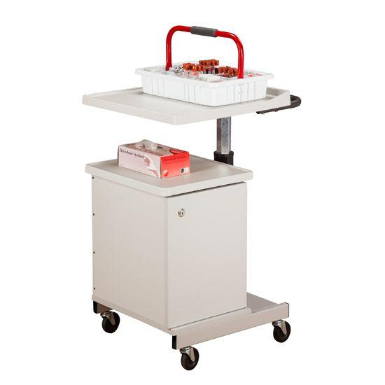 Clinton Large H-Base Pneumatic Four-Bin Phlebotomy Cart