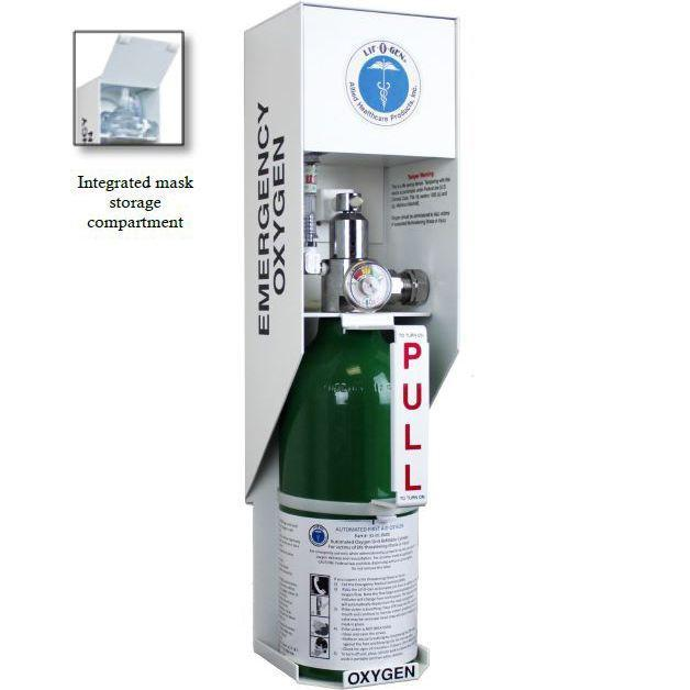 Allied Healthcare Wall Mount Emergency Oxygen Cabinet with Alarm