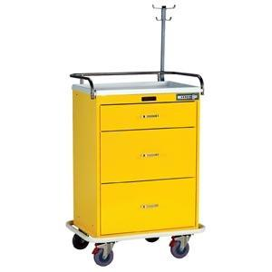 Harloff 7511 Classic 3 Drawer Infection Control Cart W/Lock Choice, Specialty Package